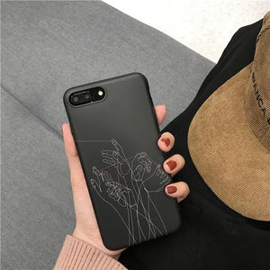 Hands Black iPhone Cases