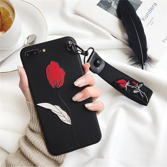 Retro 3D Rose Embroidery Wrist Strap iPhone Cases