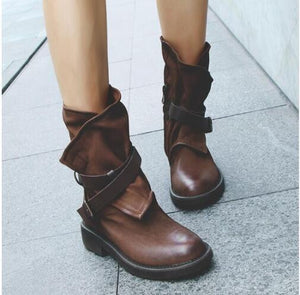 Women Fashion Vintage Mid Calf Boots Soft Leather Shoes