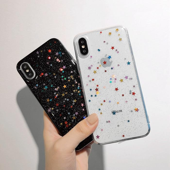 Colorful Glitter Bling Stars iPhone Cases