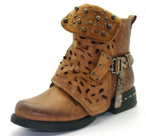 Fall Winter Vintage Motorcycle Boots Woman Shoes Rivets Booties