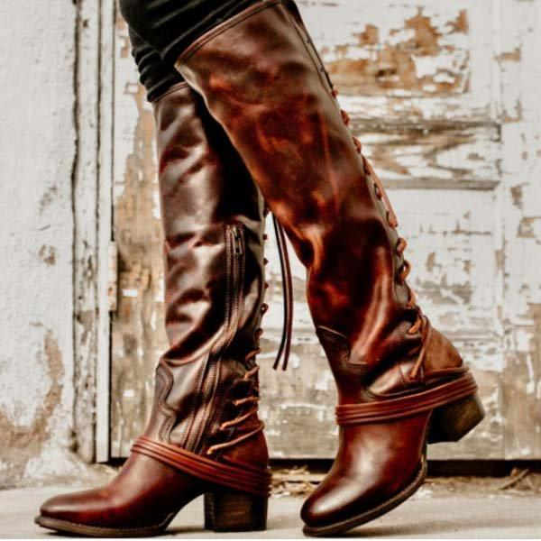 Women Vintage Lace Up Boots
