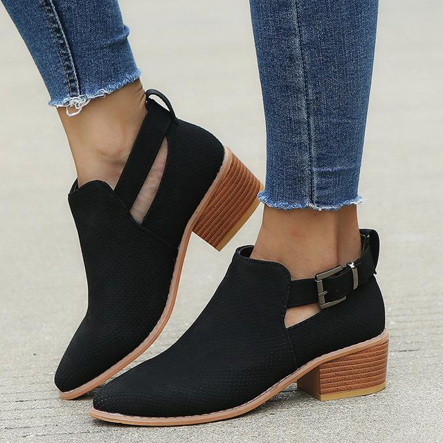 8f4820d1ab1 Winter Ankle Boots Hoollow Out Women Pointed Toe Shoes – ILYMIX ...