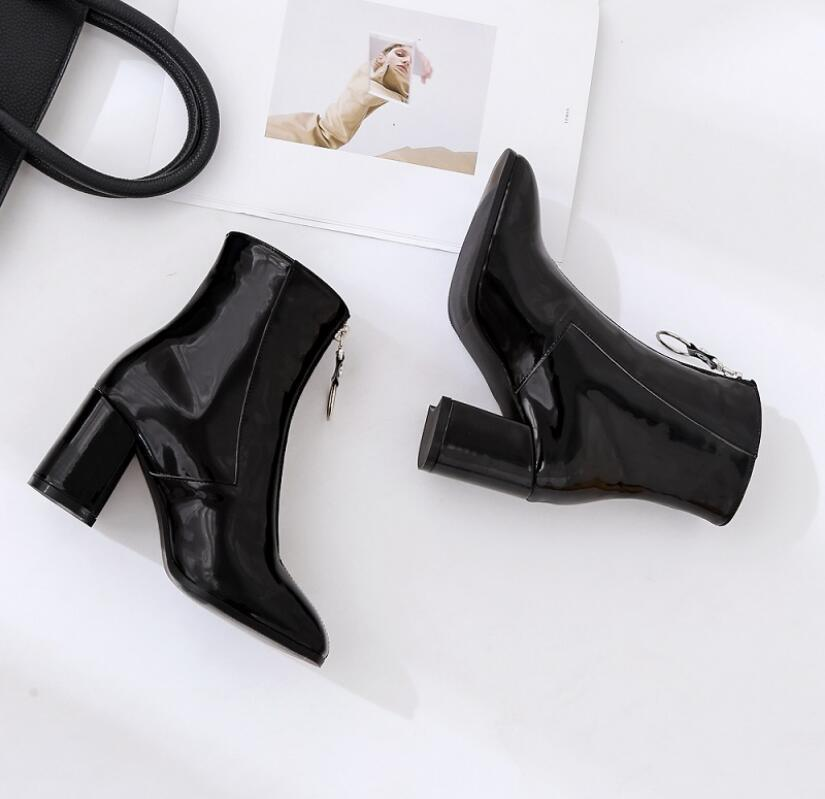 Women Boots Front Zipper Motorcycle Boots High Heel Ladies Shoes