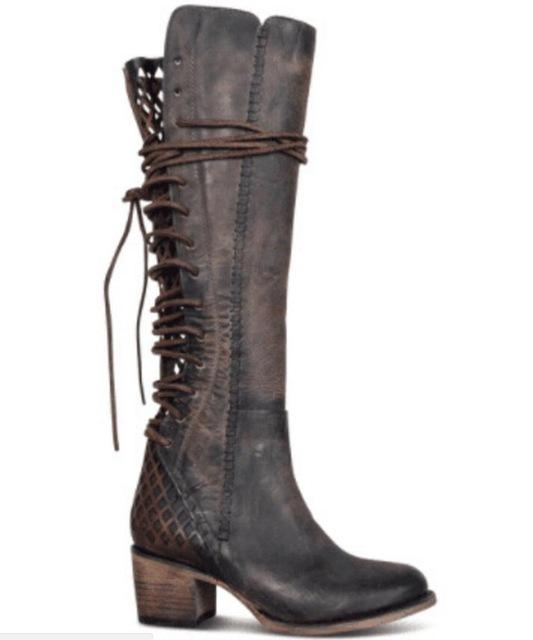 a6961683e61 Women Knee High Boots Shoes Chunky Heels Vintage Booties