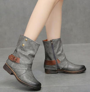 Women Ankle Boots Vintage PU Leather Booties
