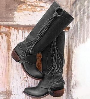 Women Vintage Knee High Boots PU Lether Shoes