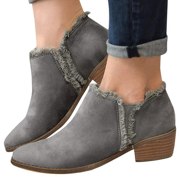 Womens Ankle Boots Mid Heels Pumps Shoes Fall Winter