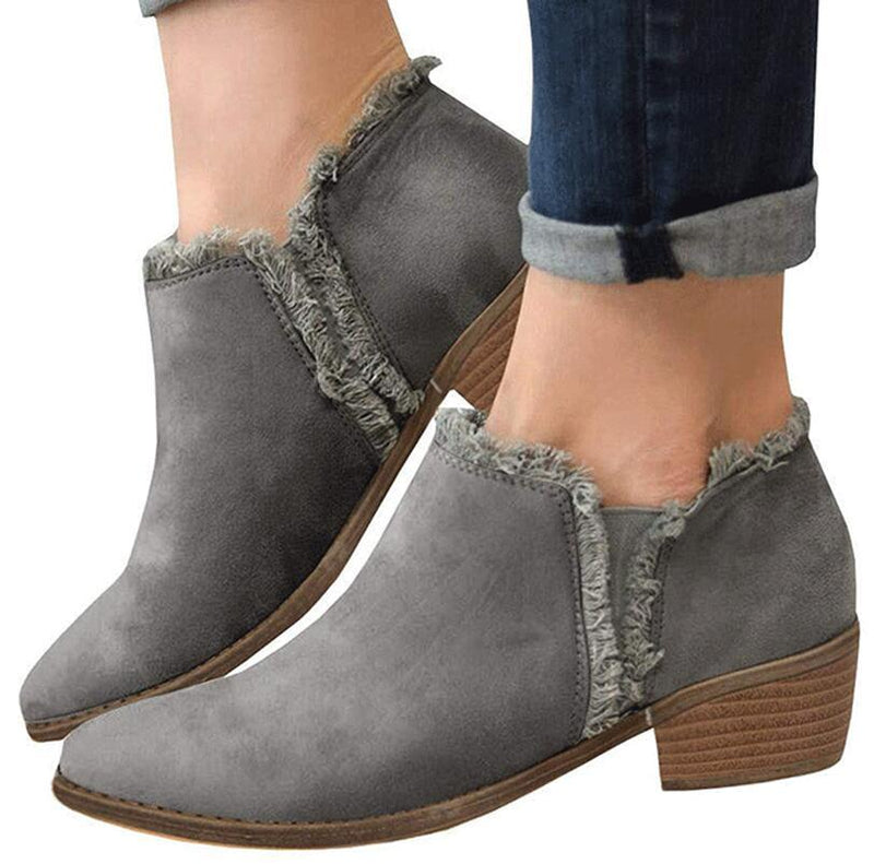 fe58ba633 Womens Ankle Boots Mid Heels Pumps Shoes Fall Winter – ILYMIX ...