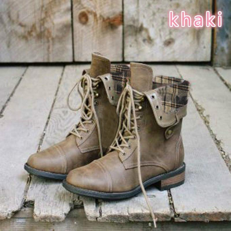 Women Lace Up Vintage Boots Fall Winter Shoes