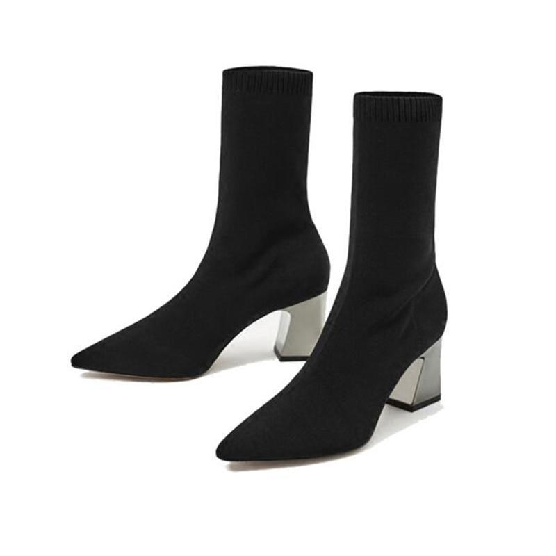 Fashion Ankle Elastic Sock Boots Chunky High Heels Stretch Women Autumn Sexy Booties Pointed Toe Pump Black