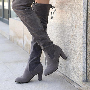 Over The Knee Thigh High Boots Faux Suede Leather High Heels Shoes