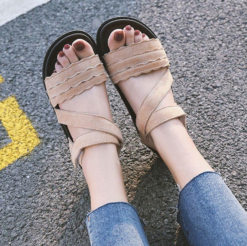 Fashion High Quality Roman Shoes  Casual Hook&Loop Platform Sandals