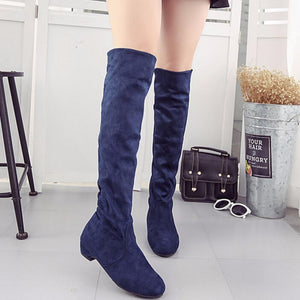 ef4db1eda26 Women's High Boots Shoes Fashion Women Over The Knee Boots 2018 New Autumn  Winter Flock Botas Feminina Thigh High Boots Ladies