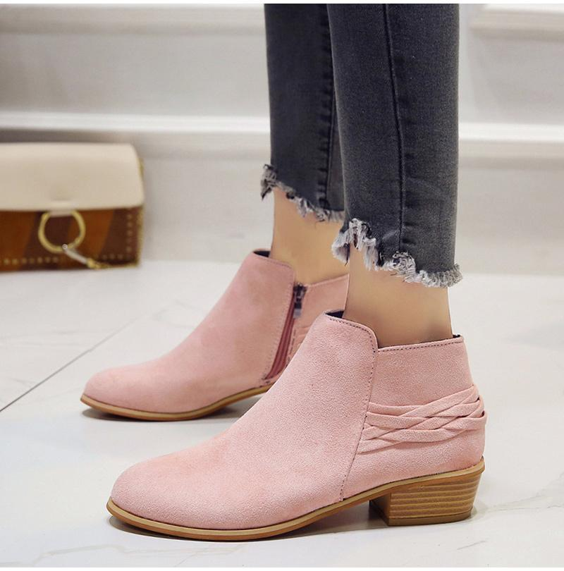 096b8b6b81e Women Casual Block Heel Ankle Boots Autumn Suede Vintage Shoes ...