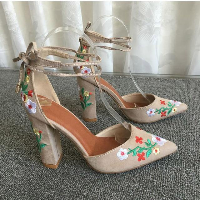 Women High Heels Plus Size Embroidery Pumps Flower Ankle Strap Shoes Pointed Toe