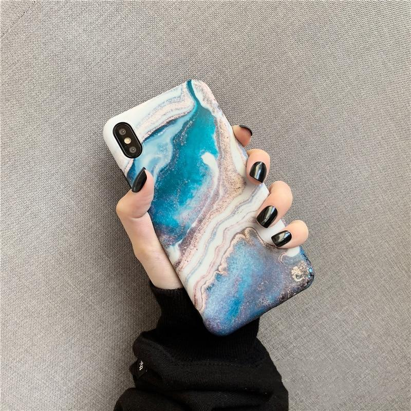 Blue Ink Painting Marble iPhone Cases