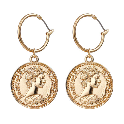 Vintage Zinc Alloy Coin Pendant Drop Earrings