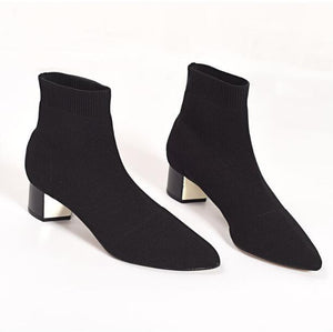 Fashion New Womens Ankle Boots Casual Knitted Elastic Socks Boots Pointed Toe Shoes