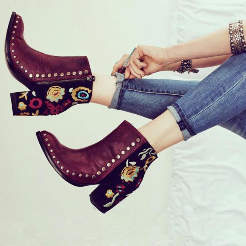 Women Embroider High Ankle Shoes Boots Flock PU Leather Plus Size Zipper Rivet