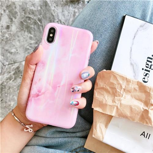 Aurora Pink Laser Marble Case For iphone