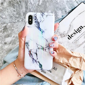 Aurora Laser White Marble Cases For iPhone