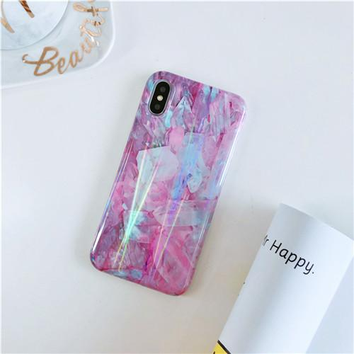 Aurora Laser Purple Marble iPhone Cases