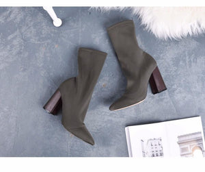 Womens Sock Boots Pointed Toe Yarn Elastic Ankle Booties Thick High Heels Shoes