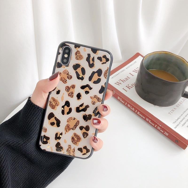 Gold Foil Bling Leopard iPhone Cases