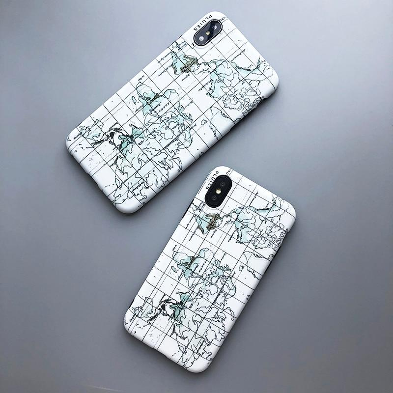 Retro World Map iPhone Cases