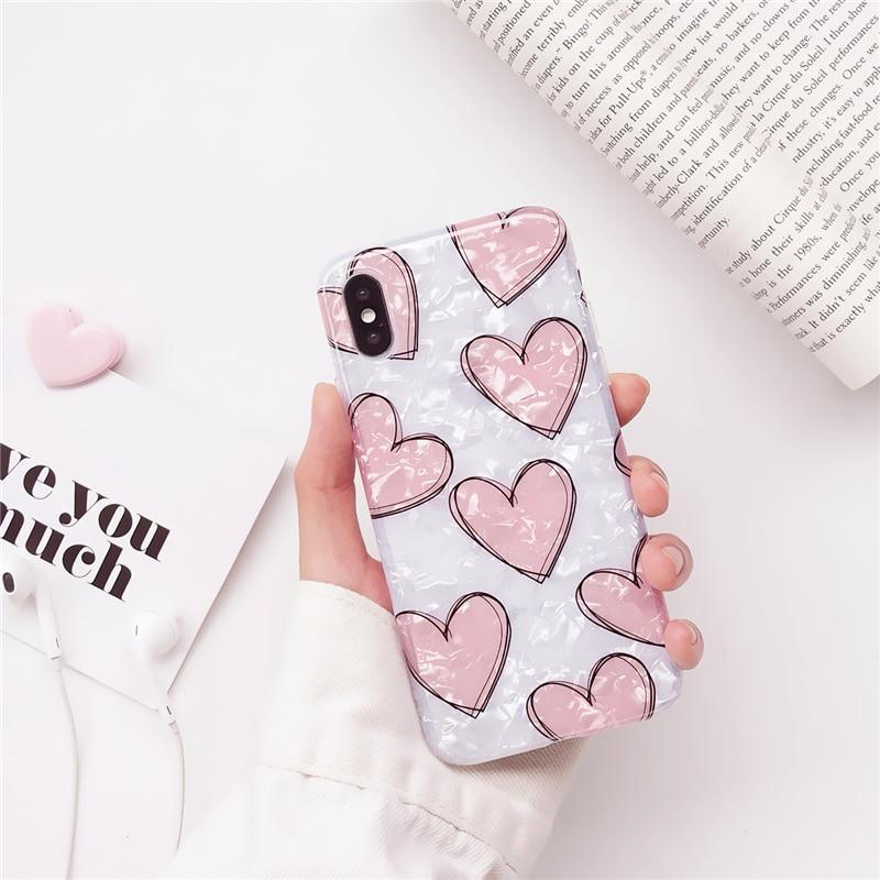 Love Heart Glitter Sequins iPhone Cases