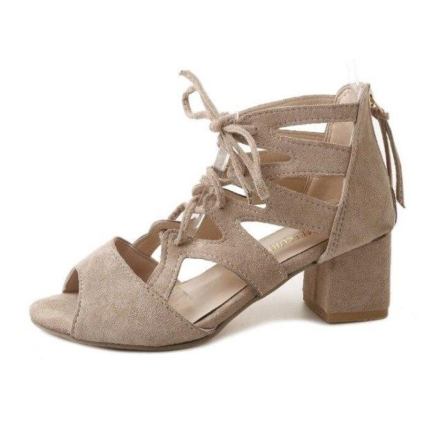 448056440d3 Sexy Open Toe Lace-up mid heel fish mouth hollow out sandals Thick heel