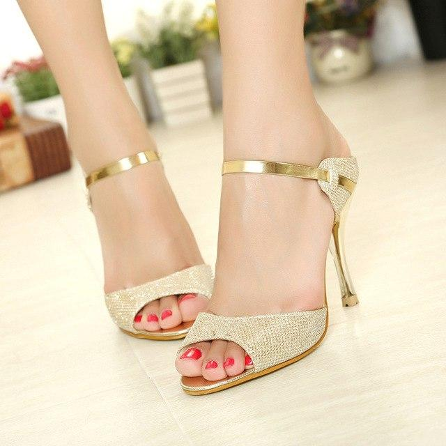 Fashion High Heels  Ladies Shoes Gold Summer  Female Sandals