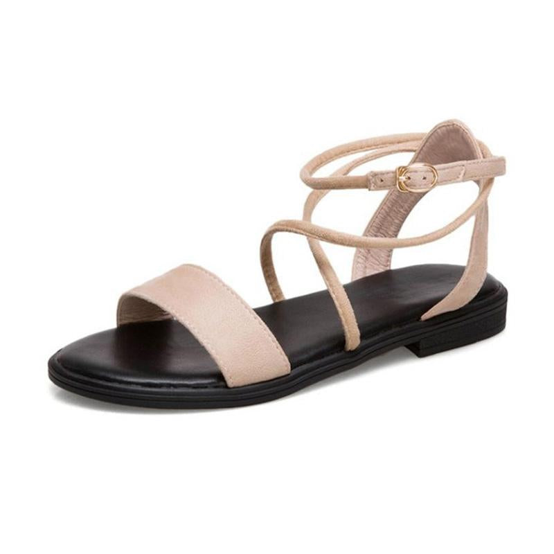 Flats Sandals Open Toe Ankle Strap Concise Sweet Shoes