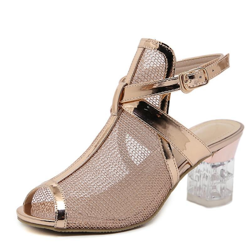 Golden Bling Gladiator Sandals Peep Toe Buckle Strap Shoes Clear Chunky Transparent heels