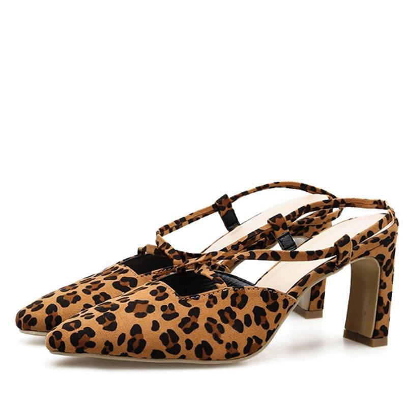 Leopard grain  Middle Heels Slip-On Pumps Shallow Buckle Casual Sandals