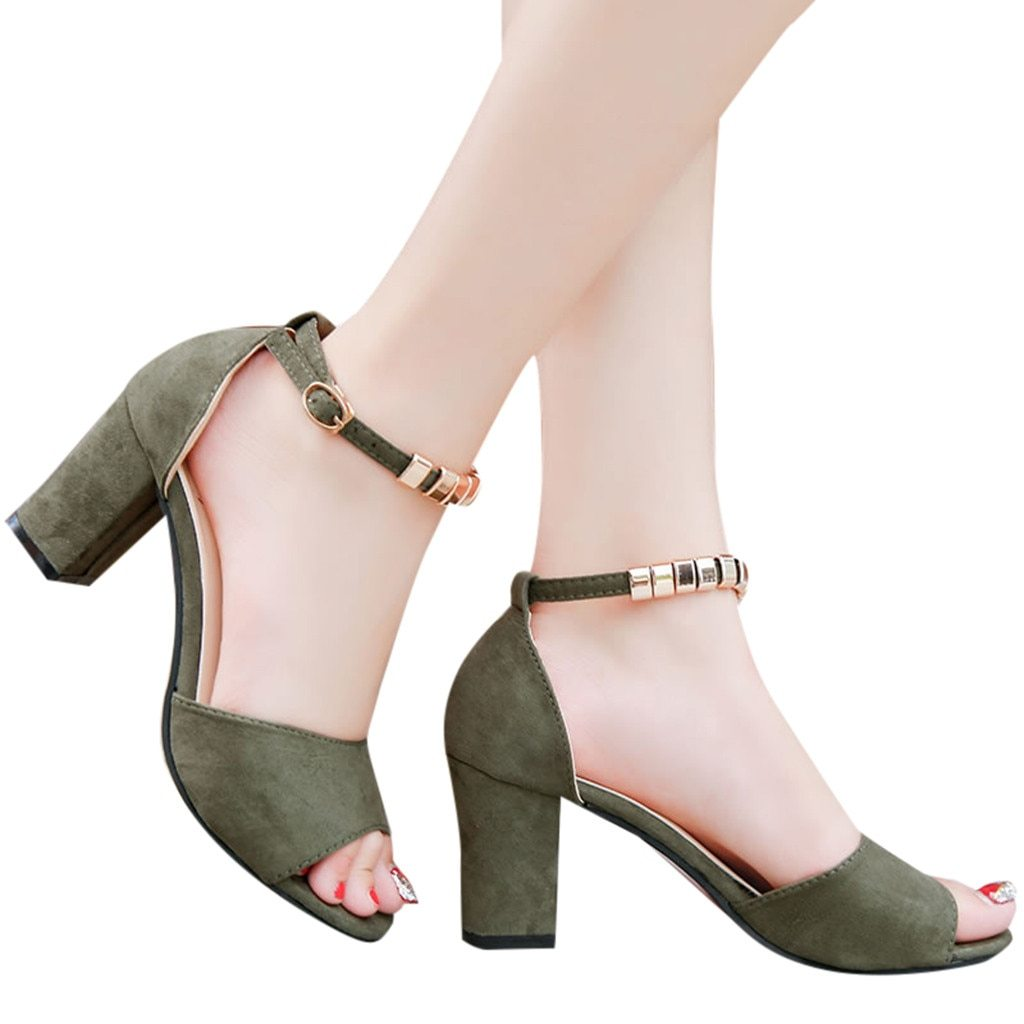 Fashion  Buckle Strap Sandals Ankle Mid Heel Party Open Toe Shoes