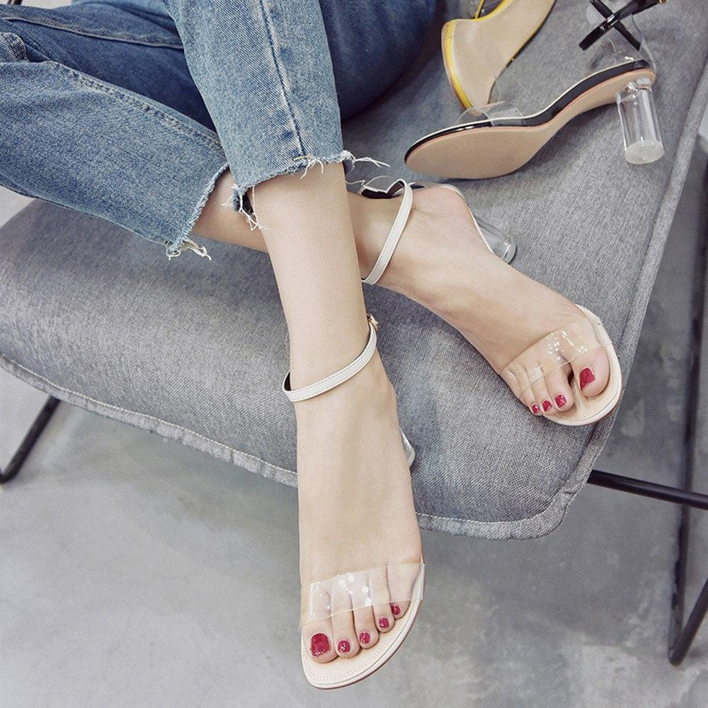 Fashion  Transparent Sandals Ankle High Heels Block Party Open Toe Shoes