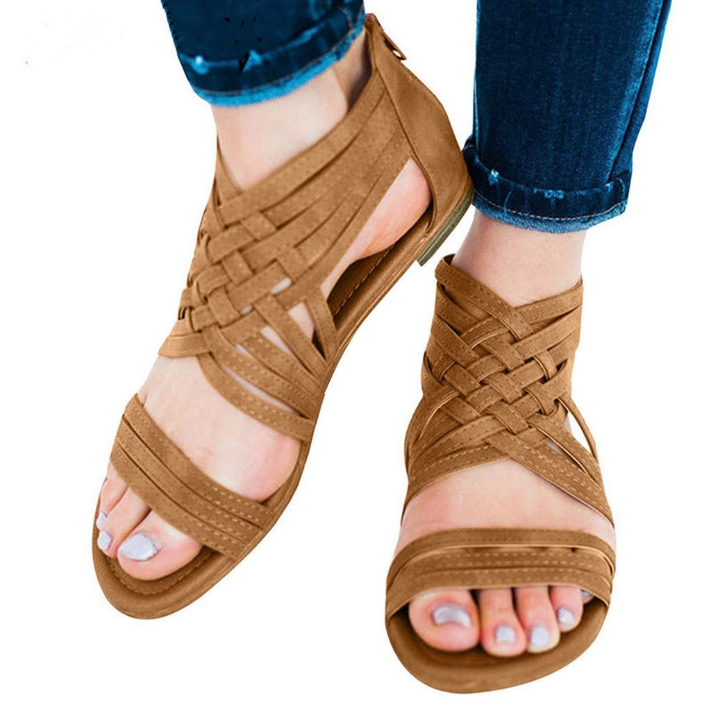Vintage sexy peep toe Open Toe Breathable Beach Zipper Sandals Rome Casual Flat Shoes