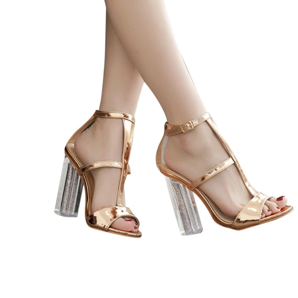Buckle Simple Fashion High Heel Sandals Lady  Studded