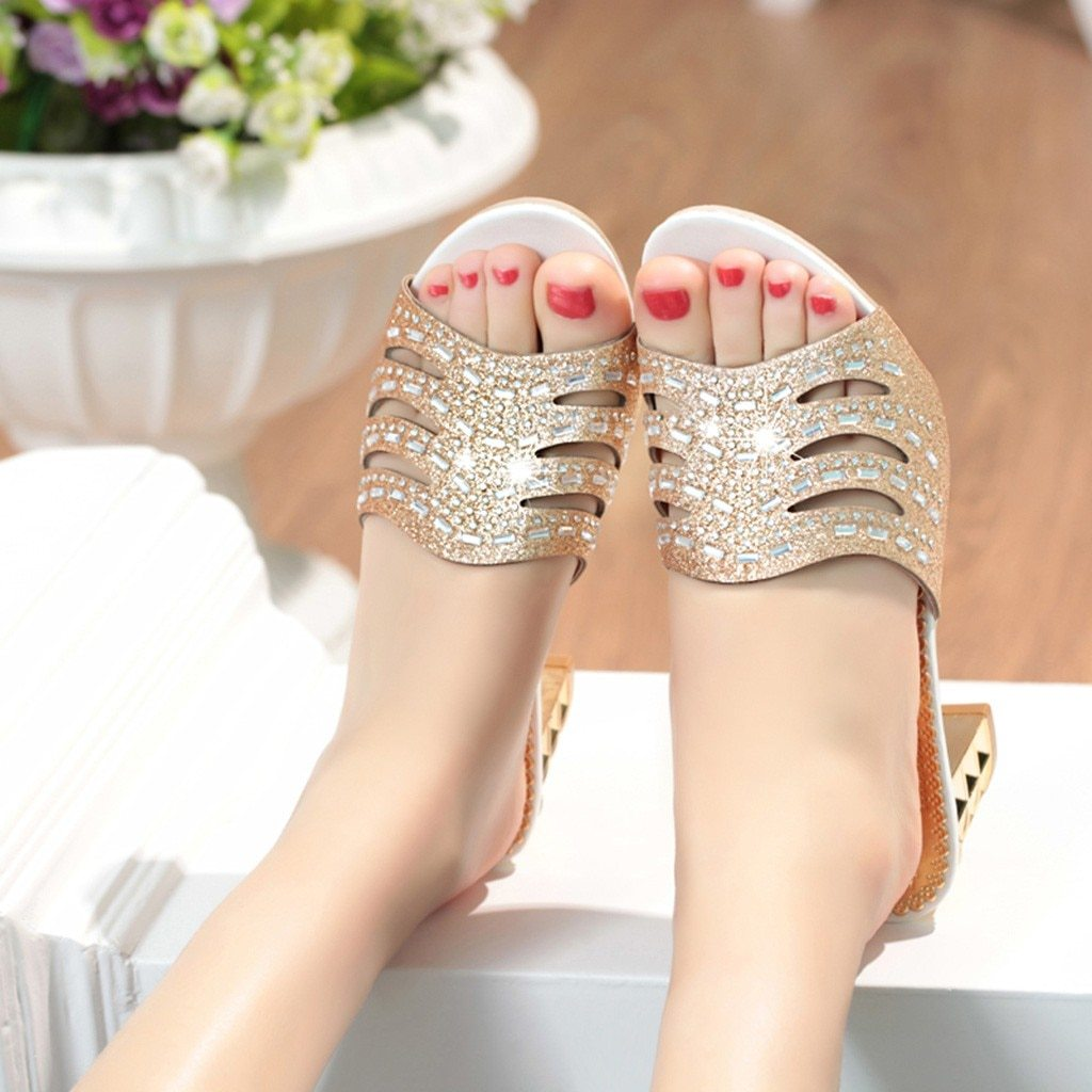 Fashion  Bling Crystal High Heel Slipper Sandals Peep Toe Ladies Shoes