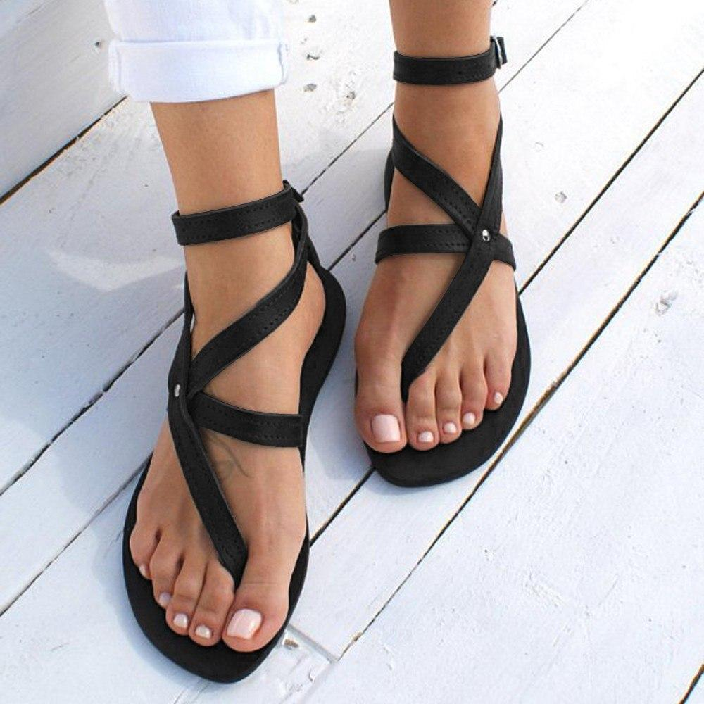 Fashion Buckle Round Toe Flat Roman Style  summer beach sandals