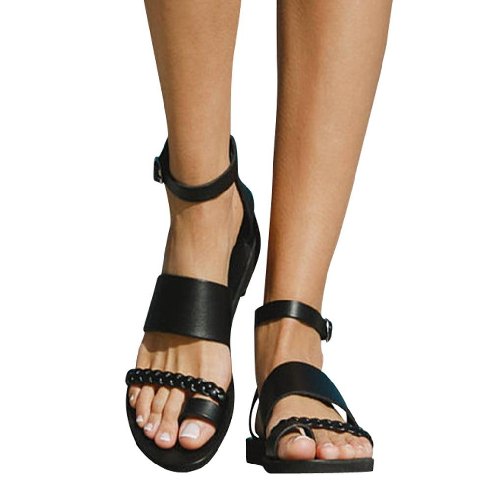 Fashion Beach Buckle Outdoor Flat Roman Style Leisure Sandals