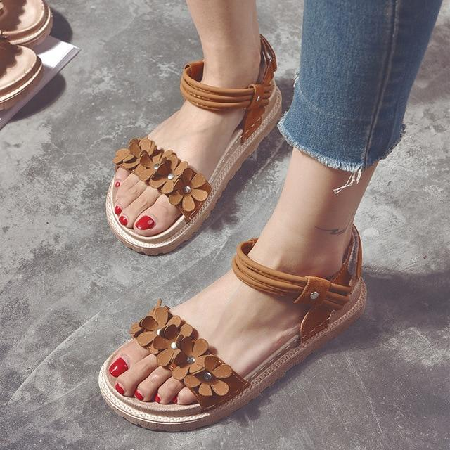 Sweet flower Flat platform Sandals Casual Fashion Peep-Toe shoes