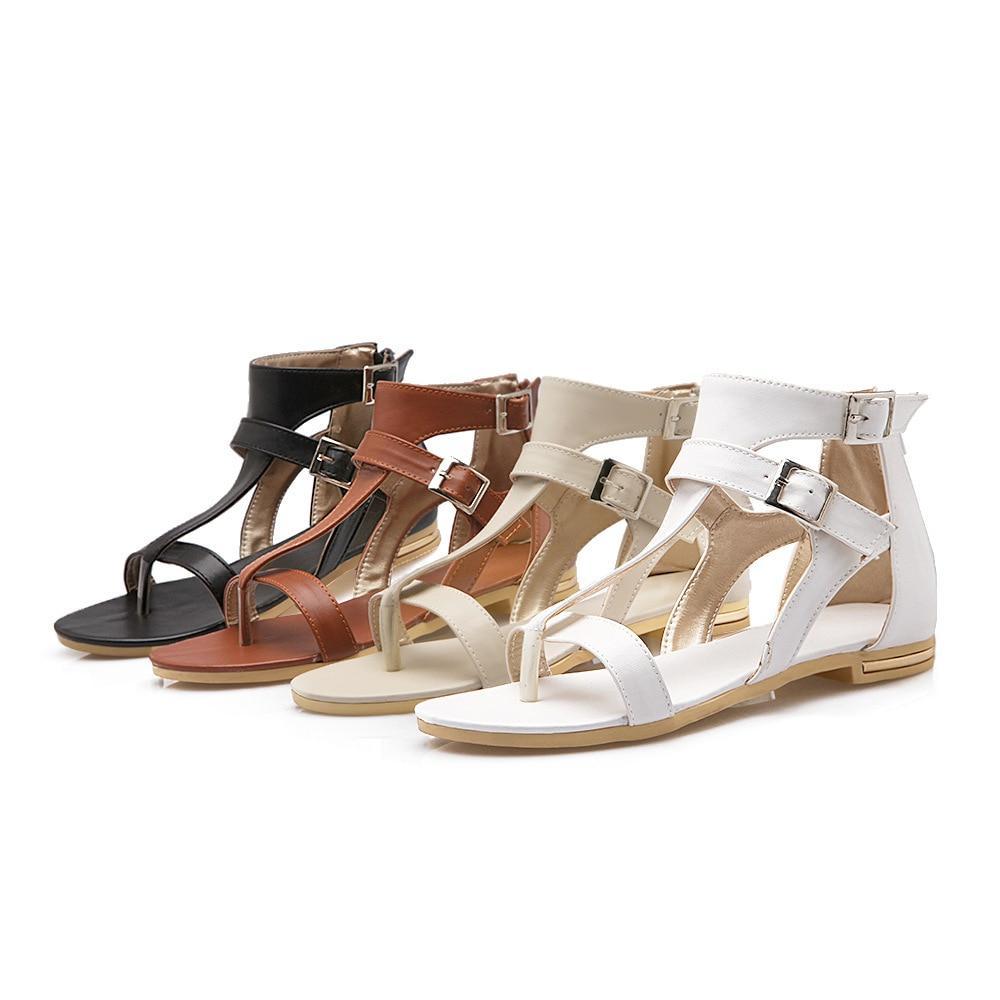 Gladiator Sandals Retro Genuine Leather Zipper summer shoes
