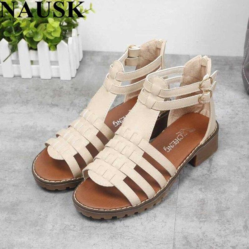 Buckle Strap  Gladiator Sandals Peep Toe Zipper  Sandals Soft Leather