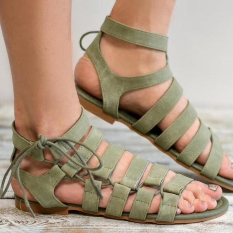 Suede Female Size Ankle Strap Sandals Open Toe Casual