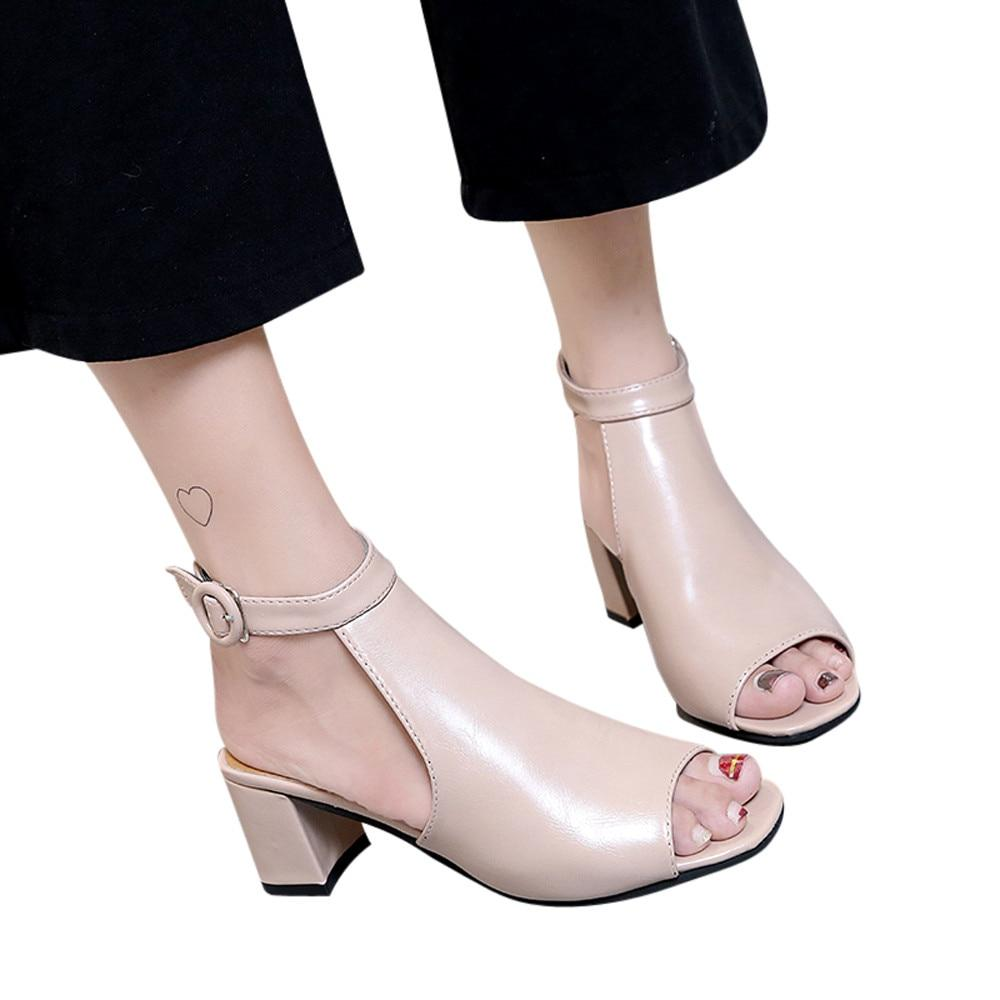 Ankle High Heel Block Party Open Toe Fashion Shoes