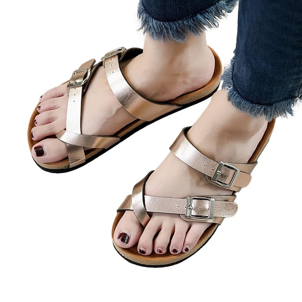 Fashion Cross Toe Strap flat sandals beach shoe Thick soled Cork Slippers