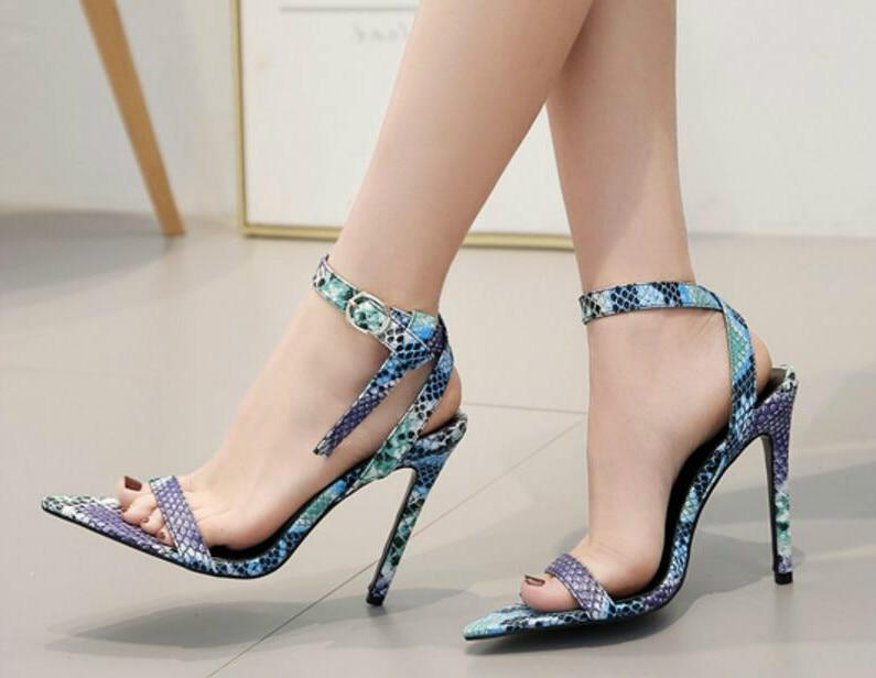 Snake Skin PU Leather Shoes Sandals